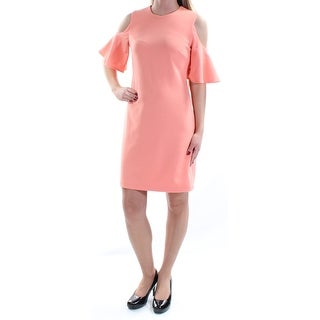Womens Coral Short Sleeve Above The Knee Sheath Cocktail Dress Size: 2XS