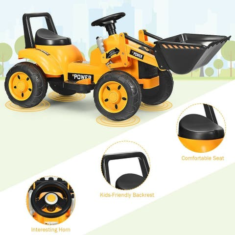 """Kids Ride On Excavator Digger 6V Battery Powered Tractor -Yellow - 47.5"""" x 21.5"""" x 21.5"""" (L x W x H)"""