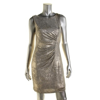 Calvin Klein Womens Petites Ruched Metallic Cocktail Dress
