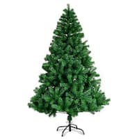 Costway 6FT PVC Artificial Christmas Tree 1000 Tips Premium Hinged w/ Solid Metal Legs