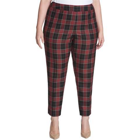 Tommy Hilfiger Womens Plaid Dress Pants, red, 18W