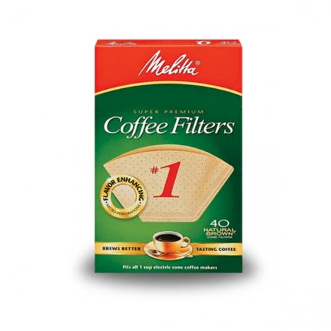 Melitta 620122 Cone Coffee Filter, #1, Natural Brown, 40-Pack