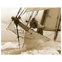 ''Breaking the Waves'' by Anon Coastal Art Print (11.5 x 14.5 in.)