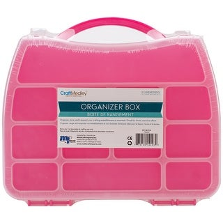 """Organizer Box W/Snap Lid 12 Compartments-9.75""""X7.25""""X1.625"""" Assorted Colors"""