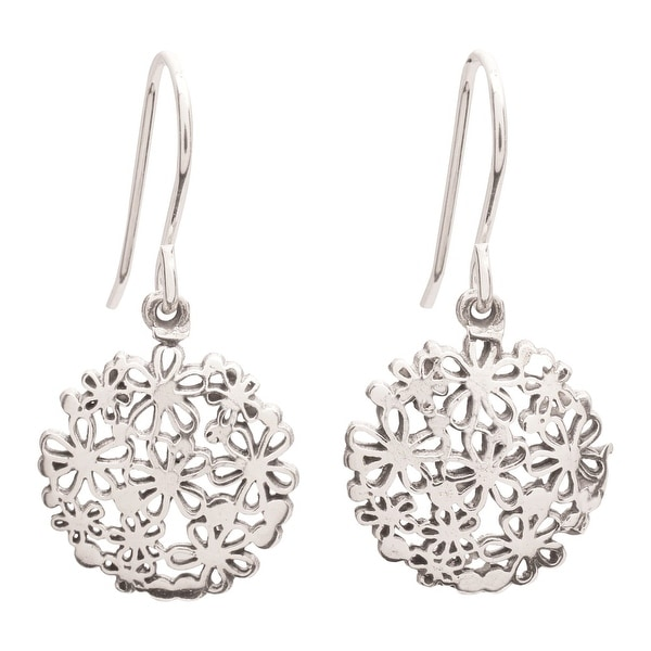 "Women's Sterling Silver Hydrangea Flower Earrings - Hangs 1"" - Fair Trade Product"