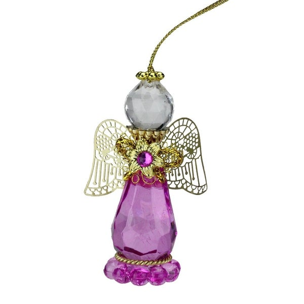 "3.25"" October Rose Quartz Birthstone Gem Angel Christmas Ornament"