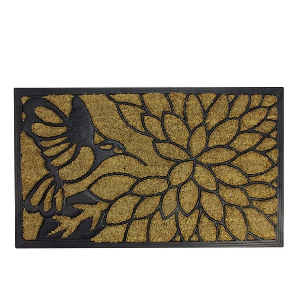 "Decorative Black Rubber and Coir Outdoor Rectangular Door Mat 29.75"" x 17.75"""