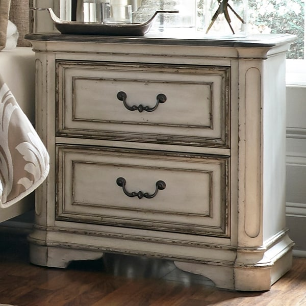 Magnolia Manor Antique White 2-drawer Nightstand. Opens flyout.