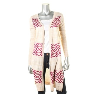 Oh MG! Womens Juniors Space Dye Aztec Print Duster Sweater