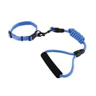 Dog Travel Picnic Nylon Adjustable Leash Rope Neck Collar Chain (Dark Blue, M)