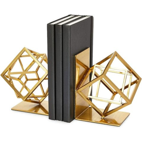 Metal Bookends, Gold Cube (10 x 5.6 x 3.14 in) - 10 x 5.6 x 3.14 in