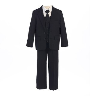 Sweet Kids Baby Boys Black Button Jacket Vest Shirt Vest Tie Pants Suit 6-24M