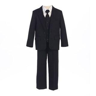 Sweet Kids Little Boys Black Button Jacket Vest Shirt Vest Tie Pants Suit 12M-7