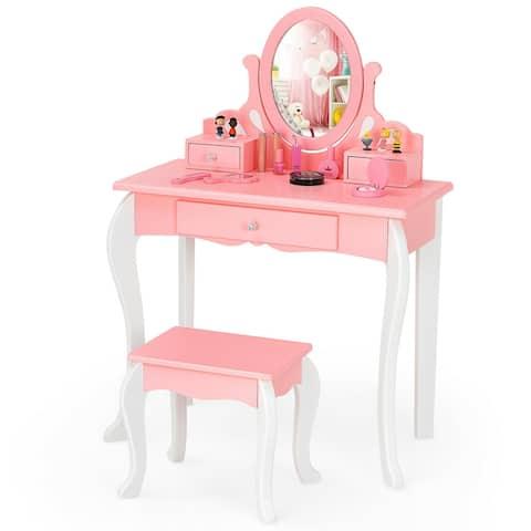 Gymax Kids Vanity Princess Makeup Dressing Table Stool Set W/ Mirror - See Details