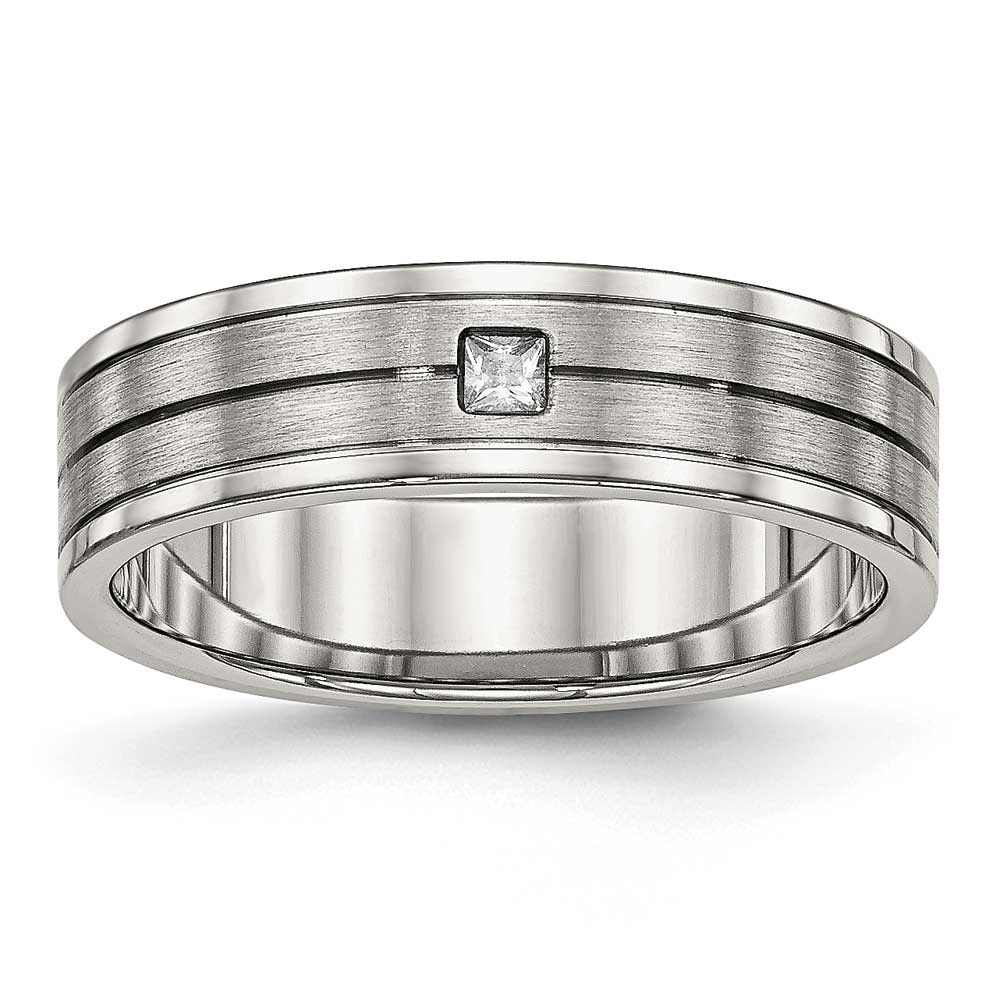 Titanium Brushed//Polished Grooved CZ Ring Sizes 6-13