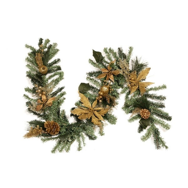 "6' x 12"" Pre-Decorated Pine, Gold Poinsettia, Berry and Pine Cone Artificial Christmas Garland - Unlit"