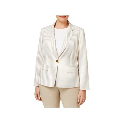 Calvin Klein Womens Plus One-Button Blazer Striped Long Sleeve