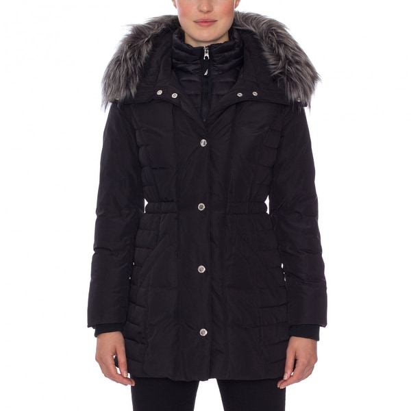 Nautica Faux Fur Trim Layered Down Coat