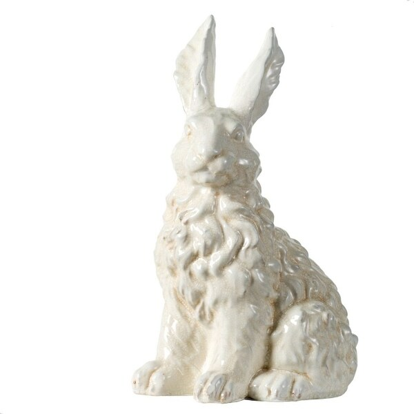 """14"""" White Classic Vintage Style with Glossy Finish Bunny - N/A"""