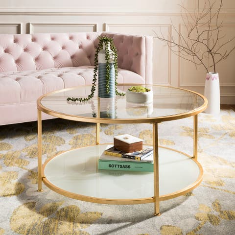 "Safavieh Ivy 2 Tier Round Coffee Table - Clear / Gold - 38"" x 38"" x 19"" - 38"" x 38"" x 19"""