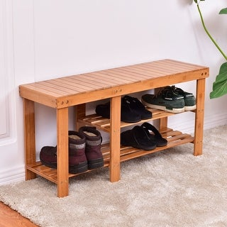 Costway 2-Tier Natural Bamboo Shoe Bench Boot Organizing Rack Entryway Storage Shelf