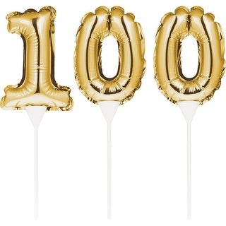 "Club Pack of 36 Shiny Number ""100"" Gold Foil Balloon Cake Topper Picks"