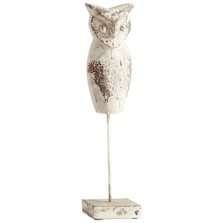 Cyan Design 08969L  Scoops Owl Iron and Wood Owl Statue - Antique White