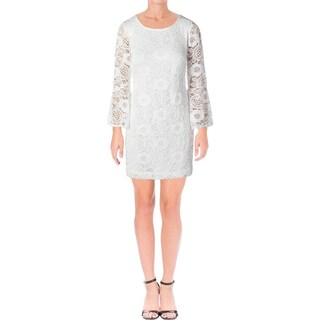 Signature By Robbie Bee Womens Petites Cocktail Dress Lace Overlay Ivory PM