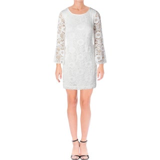 Signature By Robbie Bee Womens Petites Cocktail Dress Lace Overlay Ivory PS