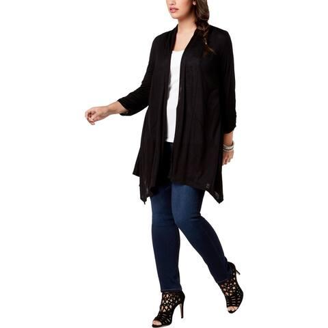 BCX Womens Plus Cardigan Sweater Velvet Mesh Back