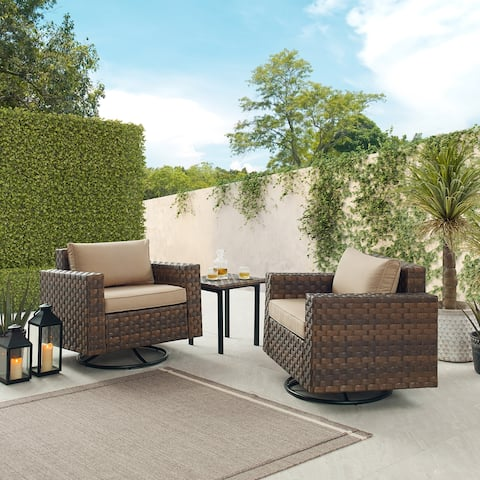 Art Leon 3 Piece Outdoor PE Rattan Chair Set with Coffee Table