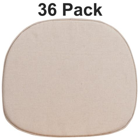 36PK Natural Thin Chair Cushion with Tieback Straps and Removable Cover