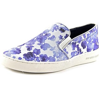 Michael Michael Kors Keaton Slip On Women Round Toe Canvas Blue Loafer