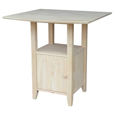 Dual Drop Leaf Bistro Table - Bar Height - With Storage - Unfinished