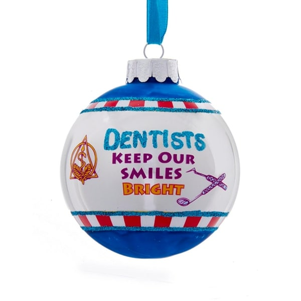 """3"""" Glittered """"Denstists Keep Our Smiles Bright"""" Christmas Ball Ornament"""