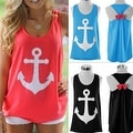 Anchor Print Womens Summer Casual Sleeveless Blouse Tank Tops T-Shirt Tee - Thumbnail 2