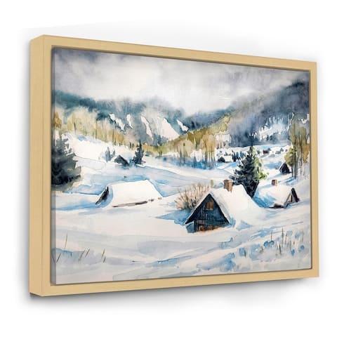 Designart 'Mountain Village In Winter' Traditional Framed Canvas Wall Art Print
