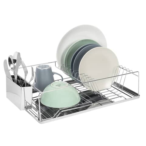 Premius Deluxe Chrome Dish Rack And Cutlery Holder, 18.5x12.7x5.25 Inches - 18.5x12.7x5.25 Inches