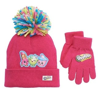 Shopkins Apple Blossom Lippie Lips Cupcake Chic Pom Hat Gloves Pink Set OS - Red - One size