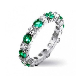 Bling Jewelry Sterling Silver Cz Green Green Eternity Band