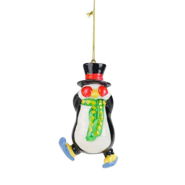 """3.5"""" Colorful Skiing Penguin Christmas Ornament"""