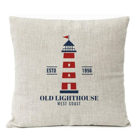 Large Red Stripes Old Lighthouse Nautical Theme Decor Pillow Cover For Couch or Sofa - Perfect Beach House