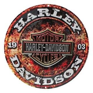 Harley-Davidson Embossed Stone Rust Bar & Shield Tin Sign, Round 14 inch 2011171