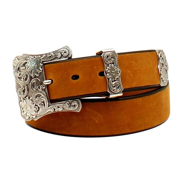 Nocona Western Belt Womens Leather Floral Engraved Med Brown