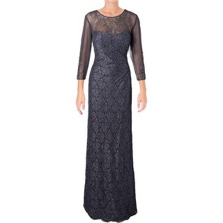 Alex Evenings Womens Evening Dress Embellished Faux Wrap