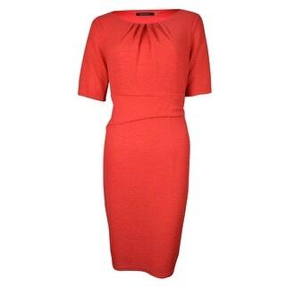 Ellen Tracy Women's Half Sleeves Pleated Crinkled Jersey Dress