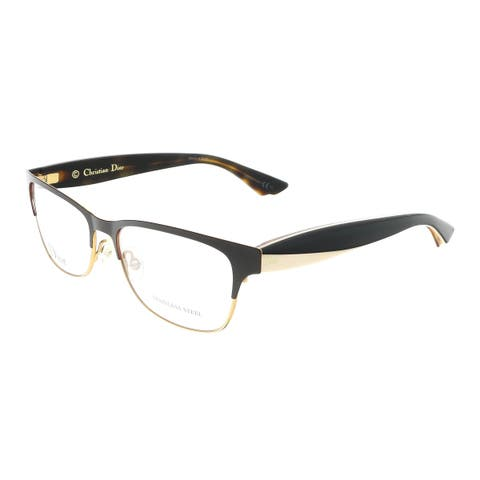 DIOR CD3782 0MJJ00 Brown/Gold Ivory Black Rectangle Optical Frames - 54-16-145
