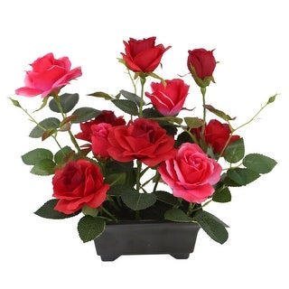 """10"""" Black Potted Artificial Red Rose Flowers"""