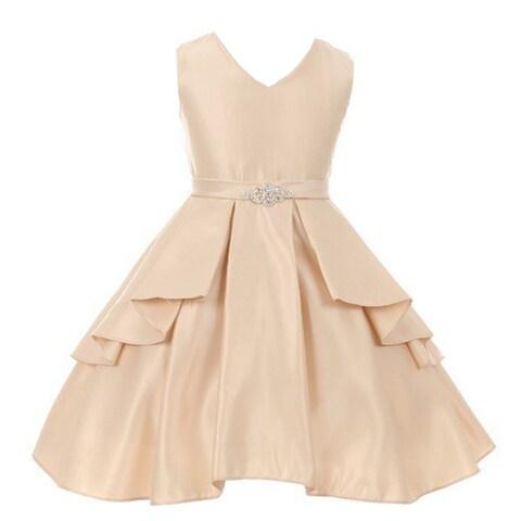 Good Girl Little Girls Champagne Dull Satin Ruffle Brooch Flower Girl Dress