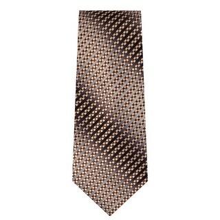 Marquis Men's Brown Geometric Neck Tie & Hanky Set TH101-015 - regular